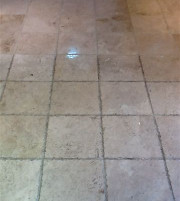 Travertine during cleaning