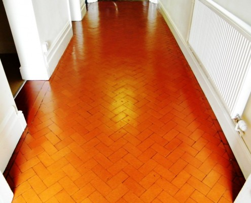 Herringbone pattern quarry tile after clean and seal