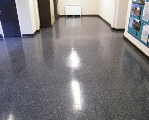 Thermoplastic floor tiles cleaned stripped sealed and burnished