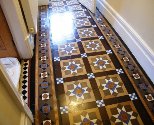 Victorian hall floor after cleaning and sealing
