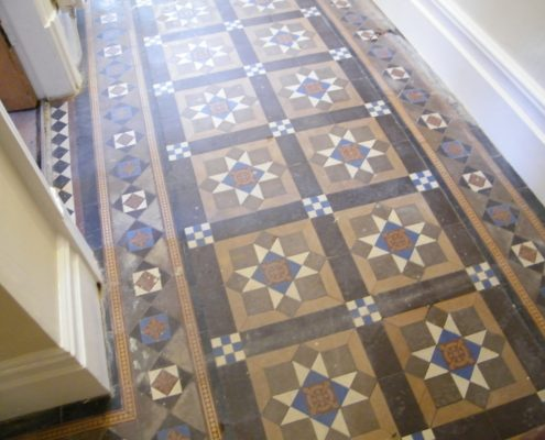 Victorian hall floor before cleaning
