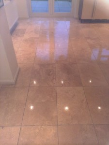 Cleaned, sealed and polished travertine kitchen floor