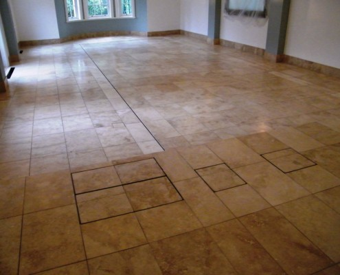 Limestone pool room after cleaning, honing and sealing