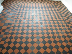 Quarry tile floor after cleaning