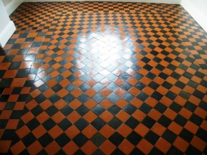 Quarry tile floor after cleaning and sealing
