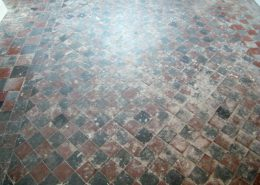 Quarry tile floor before cleaning