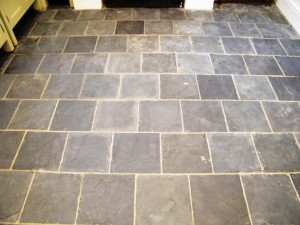 Slate kitchen floor after cleaning