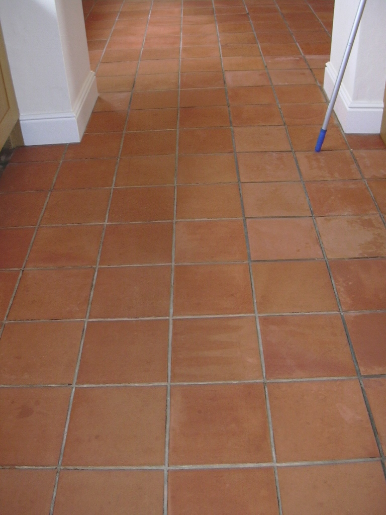 Terracotta Floor In Prestbury Cheshire Cleaned Sealed
