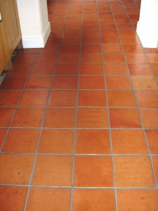 Terracotta after Clean, sealed and grout recoloured
