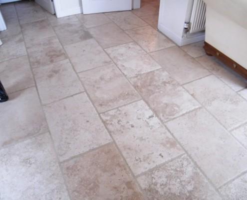 Travertine kitchen floor after cleaning