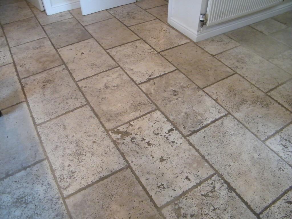 Comtravertine Kitchen Floor : Travertine Kitchen floor before cleaning