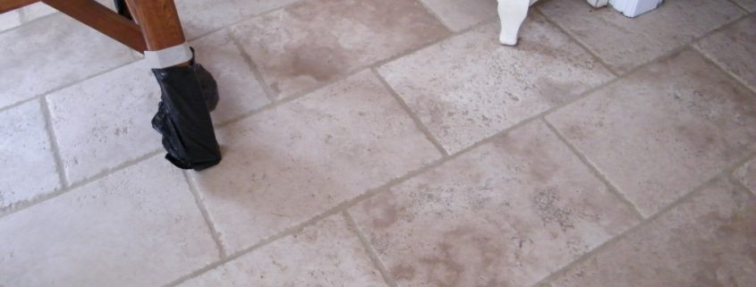 Travertine floor after cleaning