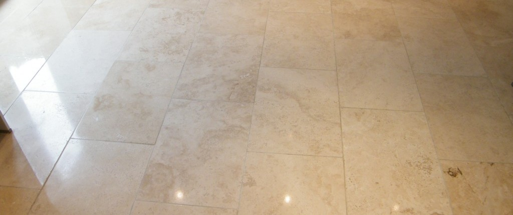 Limestone kitchen floor after clean and polish
