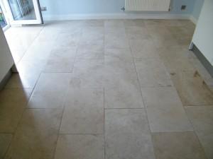 Limestone kitchen floor before