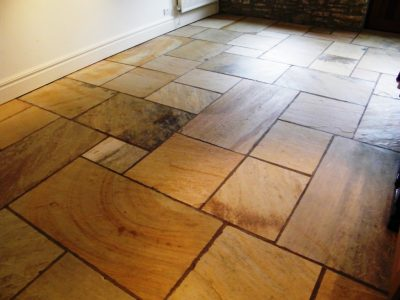 Indian stone floor after cleaning and sealing