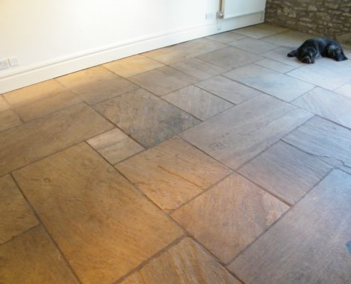 Indian stone floor before cleaning