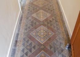 Victorian hall floor for Miss Gabriel Smith in Kidsgrove Staffordshire before cleaning-2