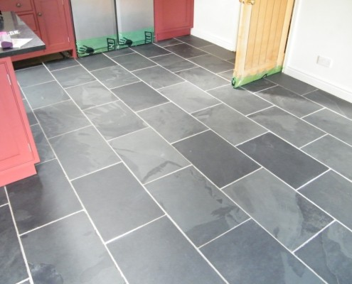Slate floor after being cleaned