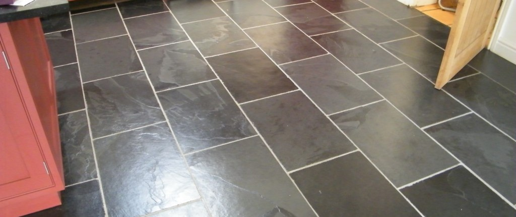 Slate floor after being stripped cleaned and sealed.