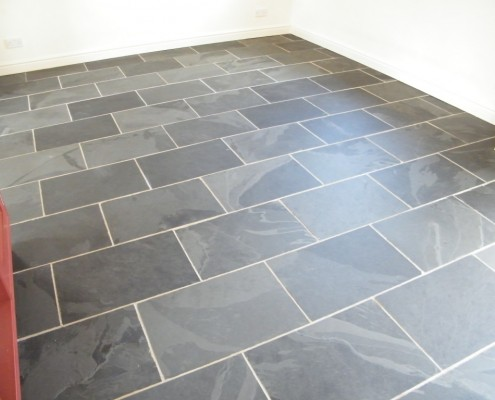 Slate floor after stripping and cleaning