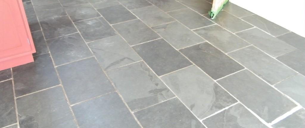 Slate floor before being cleaned