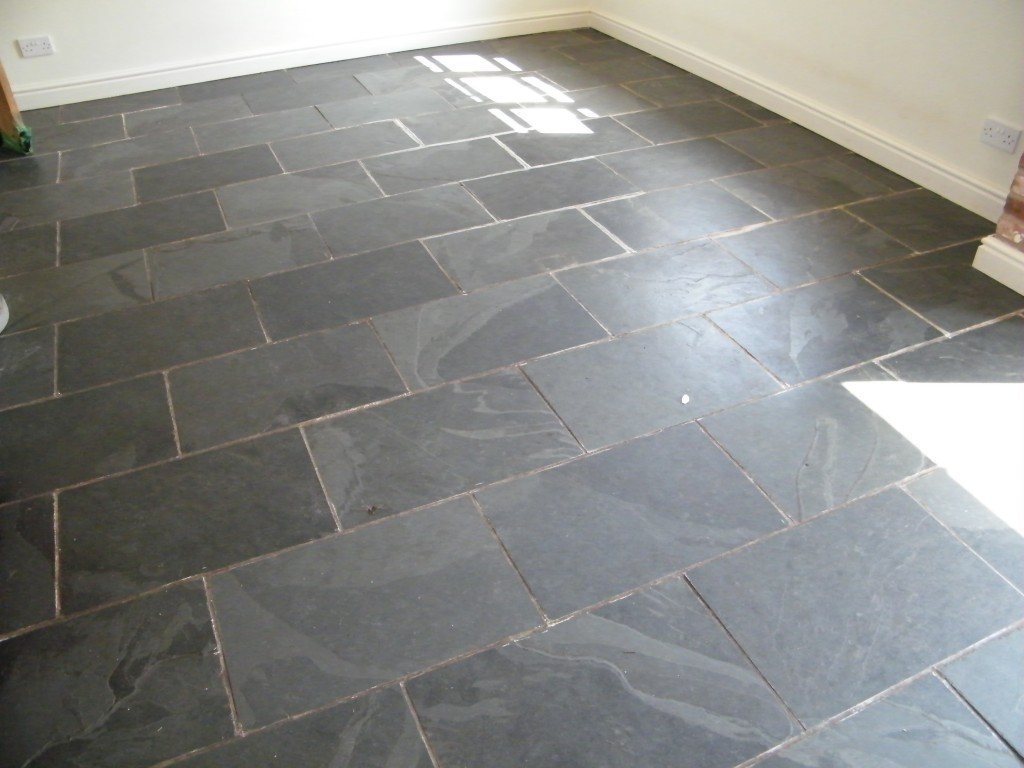 Slate Herringbone Kitchen Floor