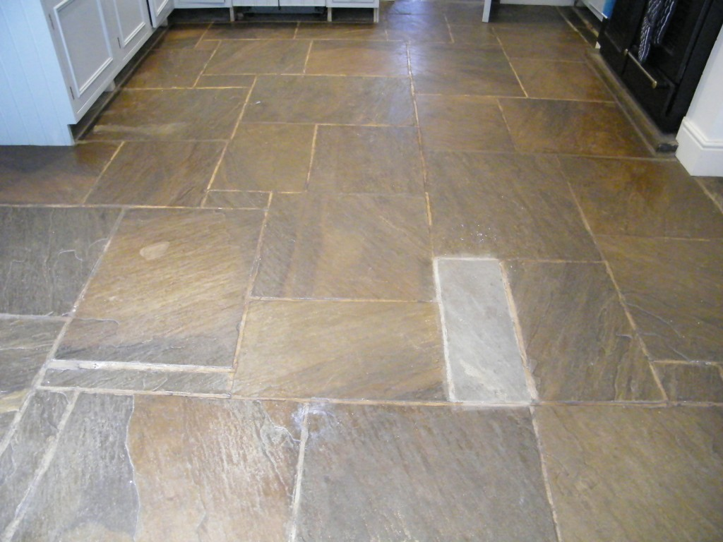 Stone Tile Flooring : Stripping cleaning and sealing of stone kitchen floor in