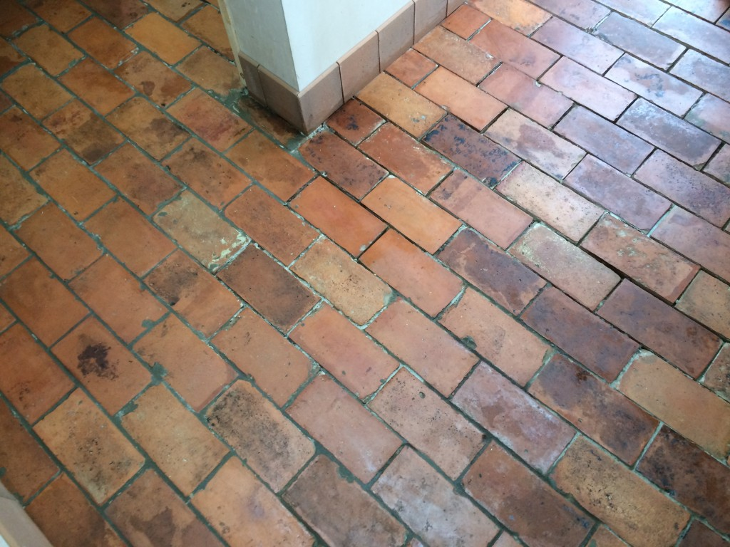 Brick Style Quarry Tile Floor Stripping Cleaning And