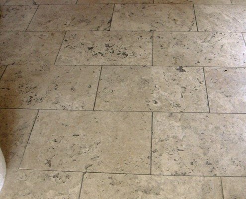 Dorset Travertine Hall floor before cleaning