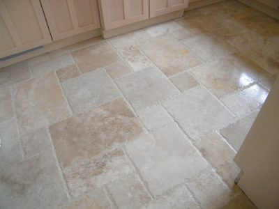 Chiseled edge Travertine after sealing