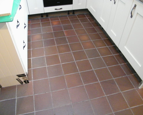 Kitchen Quarry tile before cleaning