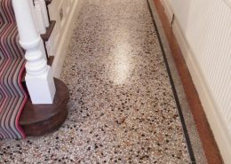 Terrazzo floor after sealing repairing and polishing