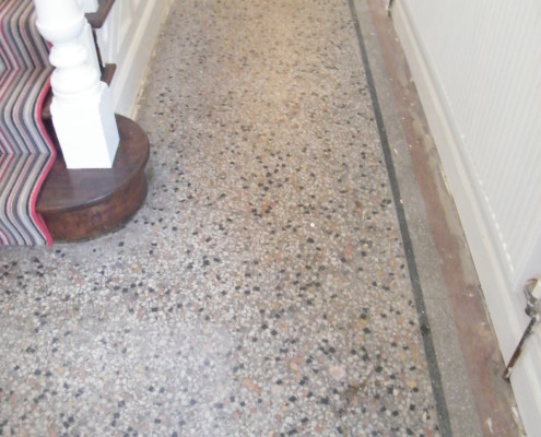 Terrazzo hall before cleaning