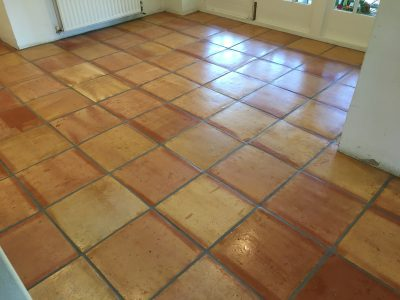 Terracotta tile floor after cleaning