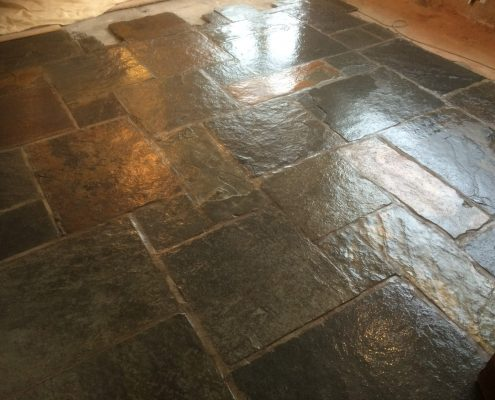Flagstone cleaned & polished