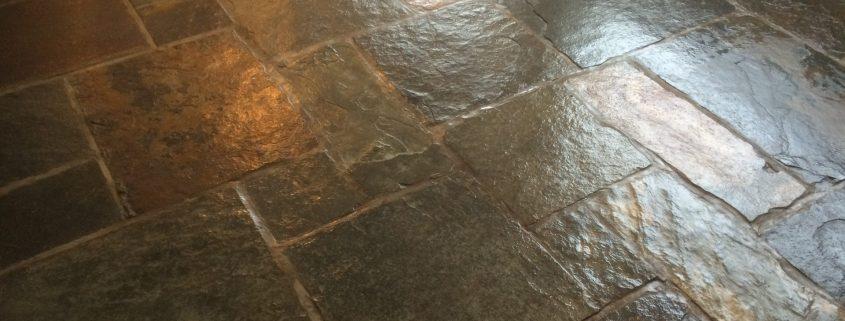 Flagstone cleaned & polished