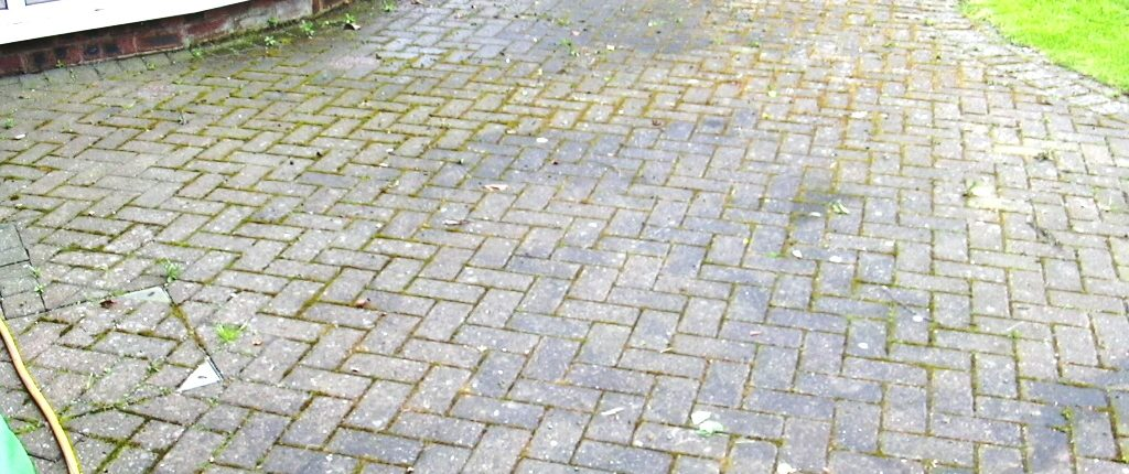 Block paved patio before