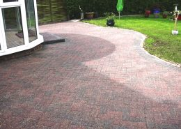 Block paved patio cleaned sanded and sealed in Sandbach Cheshire after