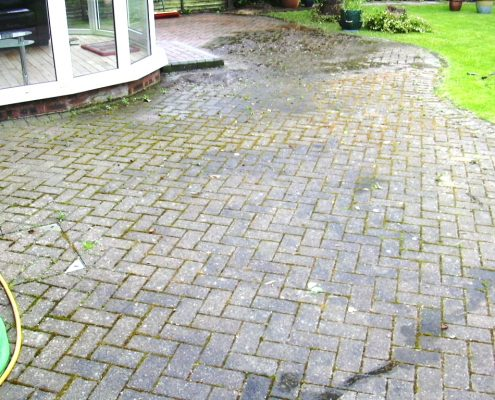 Block paved patio cleaned sanded and sealed in Sandbach Cheshire before
