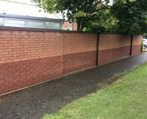Brick garden wall cleaning in Knutsford, Cheshire after cleaning