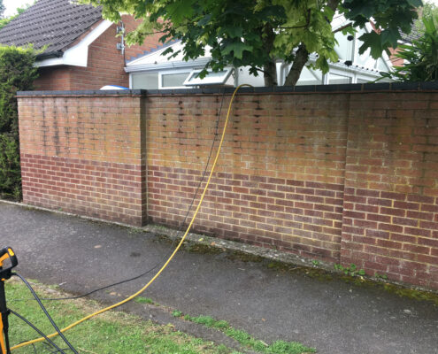 Brick garden wall cleaning in Knutsford, Cheshire before cleaning