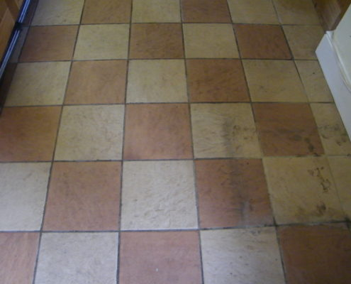 Ceramic kitchen floor in Stafford before cleaning