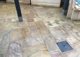 Deep clean and seal of Indian Stone external eating area of public house in Congleton, Cheshire after