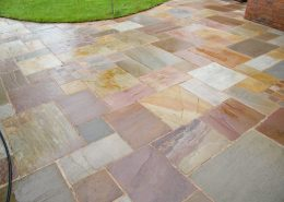 External stone patio after