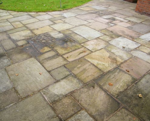 External stone patio before