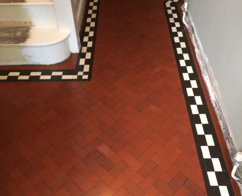 Georgian quarry tiled floor in Newcastle under Lyme after cleaning and sealing