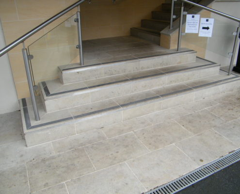 Gritstone hotel steps before cleaning