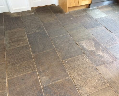 Indian Limestone floor in Lichfield Staffordshire before cleaning