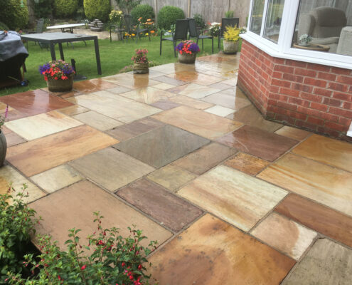 Indian stone patio in Holmes Chapel, Cheshire after cleaning