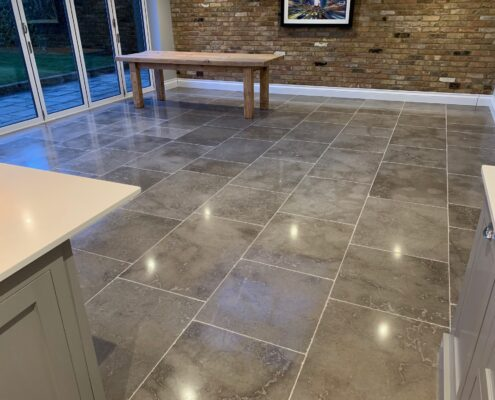 Limestone floor cleaning, polishing and sealing in Knowle, Solihull, West Midlands, after